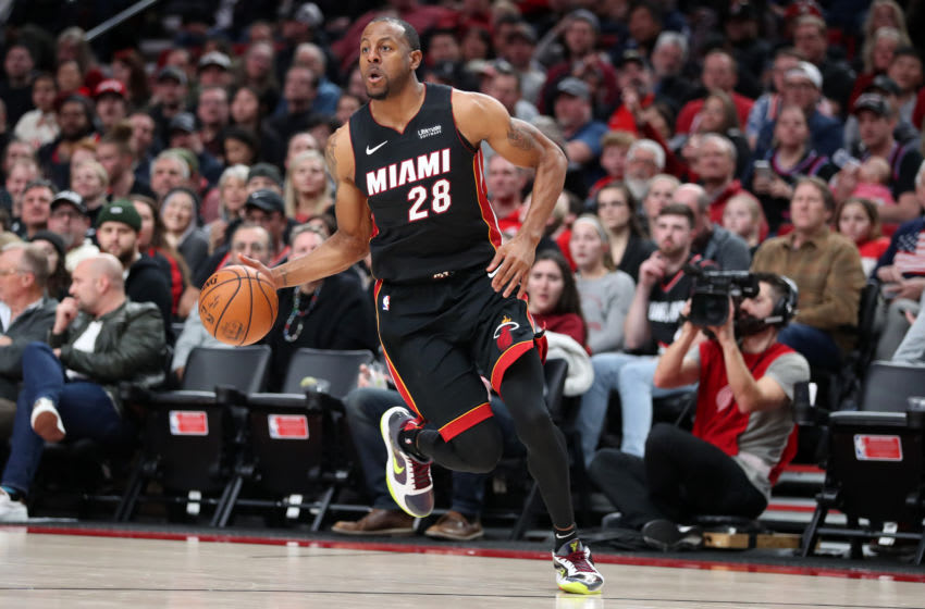 PORTLAND, OREGON - FEBRUARY 09: Andre Iguodala #28 of the Miami Heat dribbles with the ball in the fourth quarter against the Portland Trail Blazers during their game at Moda Center on February 09, 2020 in Portland, Oregon. NOTE TO USER: User expressly acknowledges and agrees that, by downloading and or using this photograph, User is consenting to the terms and conditions of the Getty Images License Agreement. (Photo by Abbie Parr/Getty Images)