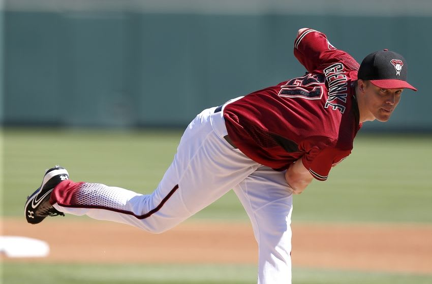 Mar 4, 2016; Salt River Pima-Maricopa, AZ, USA; Arizona Diamondbacks starting pitcher Zack Greinke (21) throws in the first inning during a spring training game against the Oakland Athletics at Salt River Fields at Talking Stick. Mandatory Credit: Rick Scuteri-USA TODAY Sports