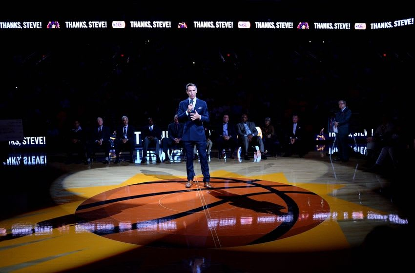 Oct 30, 2015; Phoenix, AZ, USA; Two-time NBA Most Valuable Player Steve Nash during his induction into the Suns Ring of Honor speech during half time at Talking Stick Resort Arena. Mandatory Credit: Jennifer Stewart-USA TODAY Sports