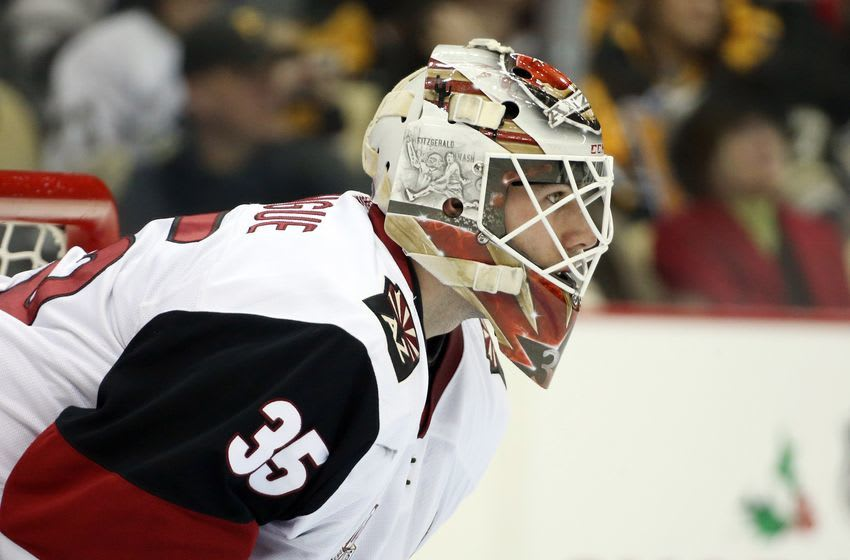Dec 12, 2016; Pittsburgh, PA, USA; Arizona Coyotes goalie Louis Domingue (35) looks on after replacing Coyotes goalie Mike Smith (not pictured) against the Pittsburgh Penguins during the second period at the PPG PAINTS Arena. The Penguins won 6-0. Mandatory Credit: Charles LeClaire-USA TODAY Sports