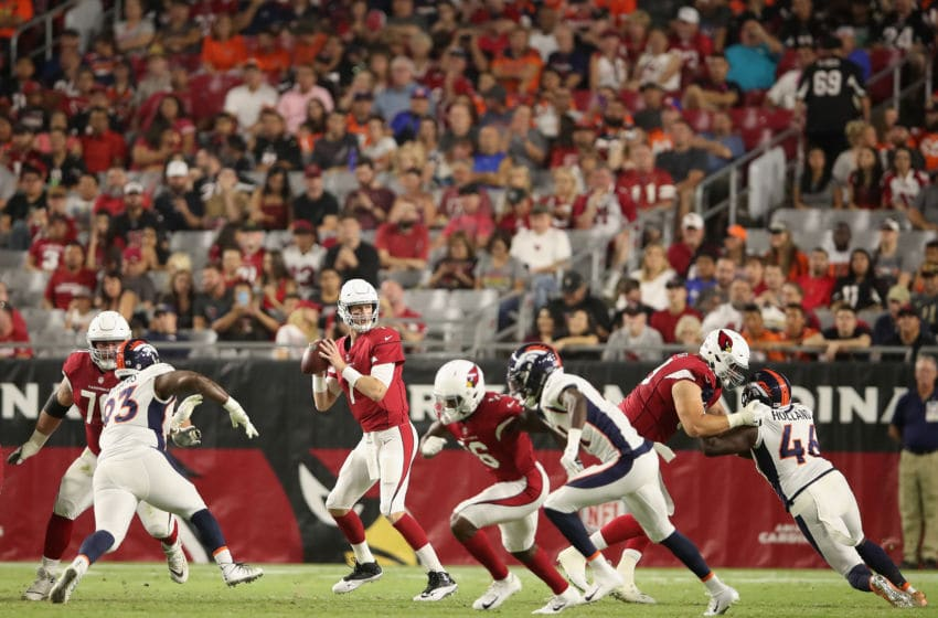 GLENDALE, AZ - AUGUST 30: Quarterback Mike Glennon #7 of the Arizona Cardinals drops back to pass during the preseason NFL game against the Denver Broncos at University of Phoenix Stadium on August 30, 2018 in Glendale, Arizona. The Broncos defeated the Cardinals 21-10. (Photo by Christian Petersen/Getty Images)