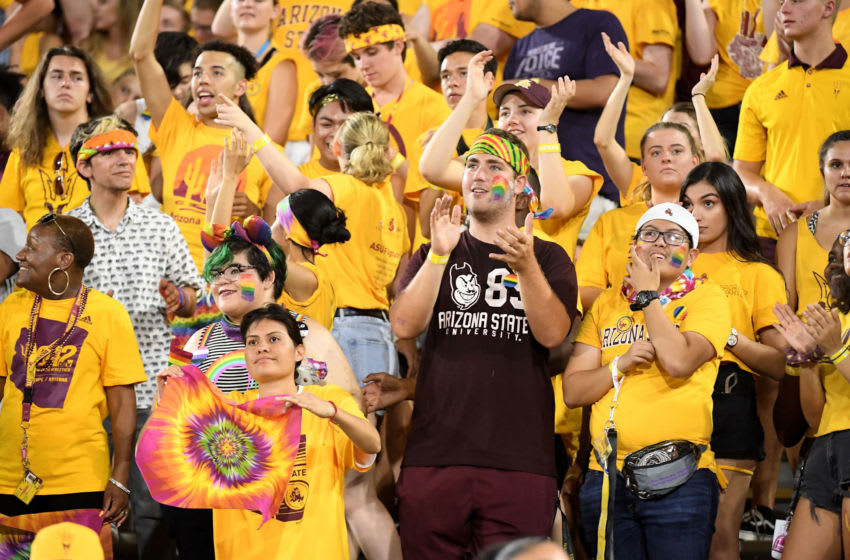 TEMPE, AZ - SEPTEMBER 01: Arizona State Sun Devils fans cheer after they score against the UTSA Roadrunners in the first half at Sun Devil Stadium on September 1, 2018 in Tempe, Arizona. (Photo by Jennifer Stewart/Getty Images)
