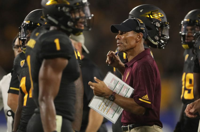 TEMPE, AZ - SEPTEMBER 08: Head coach Herm Edwards of the Arizona State Sun Devils on the sidelines during the second half of the college football game against the Michigan State Spartans at Sun Devil Stadium on September 8, 2018 in Tempe, Arizona. The Sun Devils defeated the Spartans 16-13. (Photo by Christian Petersen/Getty Images)