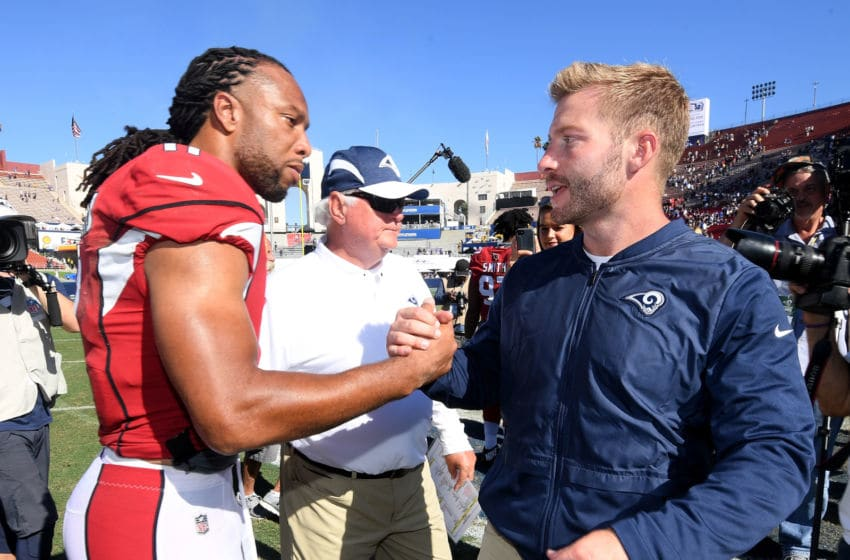 LOS ANGELES, CA - SEPTEMBER 16: Head coach Sean McVay of the Los Angeles Rams shakes hands with Larry Fitzgerald #11 of the Arizona Cardinals after a 34-0 Rams win at Los Angeles Memorial Coliseum on September 16, 2018 in Los Angeles, California. (Photo by Harry How/Getty Images)