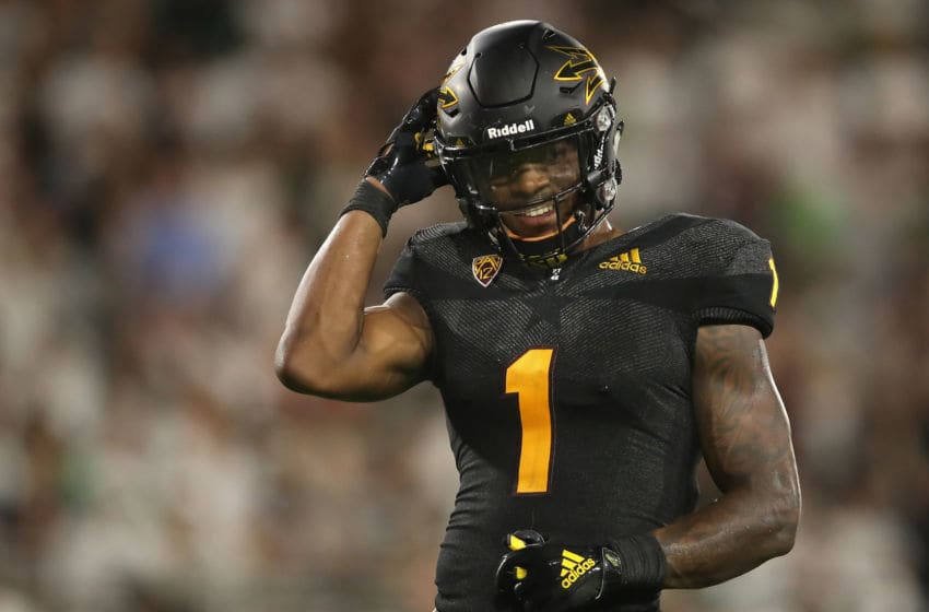 TEMPE, AZ - SEPTEMBER 08: Wide receiver N'Keal Harry #1 of the Arizona State Sun Devils reacts during the final moments of the college football game against the Michigan State Spartans at Sun Devil Stadium on September 8, 2018 in Tempe, Arizona. The Sun Devils defeated the Spartans 16-13. (Photo by Christian Petersen/Getty Images)