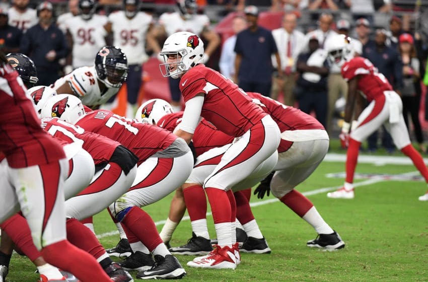 GLENDALE, AZ - SEPTEMBER 23: Josh Rosen #3 of the Arizona Cardinals gets ready to take the snap from under center against the Chicago Bears at State Farm Stadium on September 23, 2018 in Glendale, Arizona. Bears won 16-14. (Photo by Norm Hall/Getty Images)