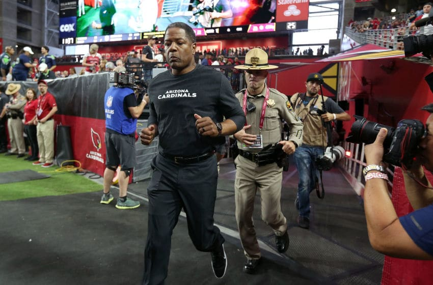 GLENDALE, AZ - SEPTEMBER 30: Head coach Steve Wilks of the Arizona Cardinals runs on to the field before an NFL game against the Seattle Seahawks at State Farm Stadium on September 30, 2018 in Glendale, Arizona. (Photo by Ralph Freso/Getty Images)