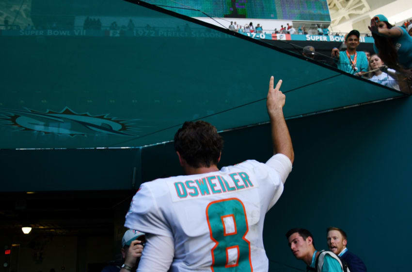 MIAMI, FL - OCTOBER 14: Brock Osweiler #8 of the Miami Dolphins celebrates as he walks off of the field after the Dolphins defeated the Bears 31 to 28 of the game at Hard Rock Stadium on October 14, 2018 in Miami, Florida. (Photo by Mark Brown/Getty Images)