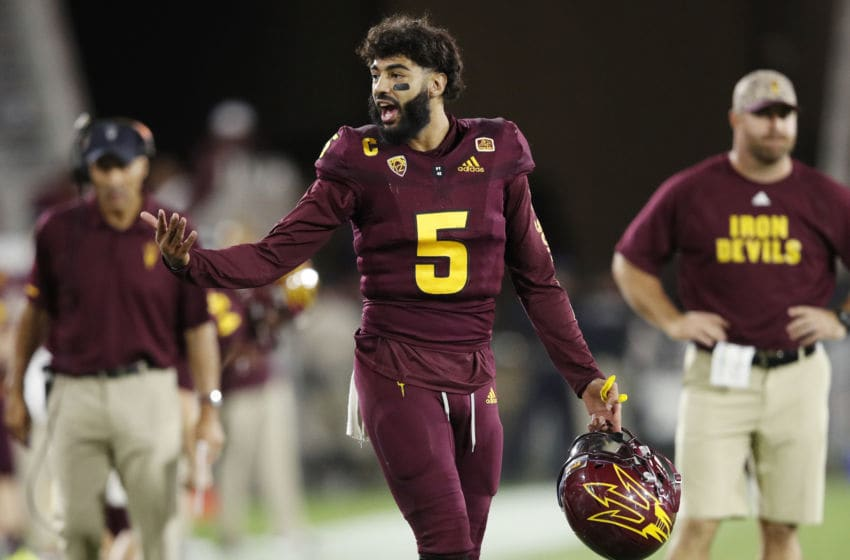 TEMPE, AZ - OCTOBER 18: Manny Wilkins #5 of the Arizona State Sun Devils reacts in the fourth quarter of the game against the Stanford Cardinal at Sun Devil Stadium on October 18, 2018 in Tempe, Arizona. Stanford won 20-13. (Photo by Joe Robbins/Getty Images)