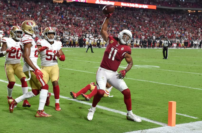 GLENDALE, AZ - OCTOBER 28: Wide receiver Larry Fitzgerald #11 of the Arizona Cardinals reacts after scoring a two point conversion during the fourth quarter against the San Francisco 49ers at State Farm Stadium on October 28, 2018 in Glendale, Arizona. (Photo by Norm Hall/Getty Images)