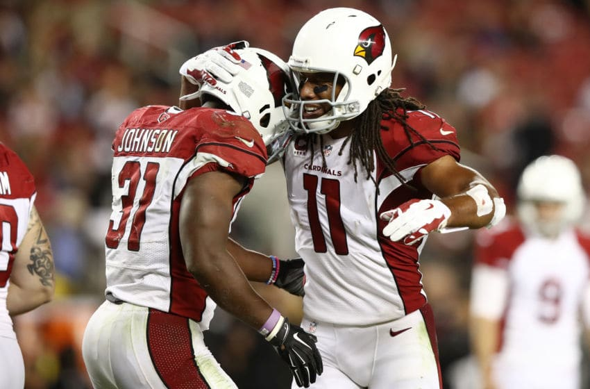 SANTA CLARA, CA - OCTOBER 06: David Johnson #31 of the Arizona Cardinals celebrates after a touchdown with Larry Fitzgerald #11 during their NFL game against the San Francisco 49ers at Levi's Stadium on October 6, 2016 in Santa Clara, California. (Photo by Ezra Shaw/Getty Images)