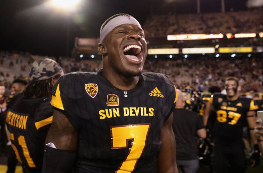 TEMPE, AZ - OCTOBER 14: Running back Kalen Ballage #7 of the Arizona State Sun Devils celebrates on the field after defeating the Washington Huskies in the college football game at Sun Devil Stadium on October 14, 2017 in Tempe, Arizona. The Sun Devils defeated the Huskies 13-7. (Photo by Christian Petersen/Getty Images)