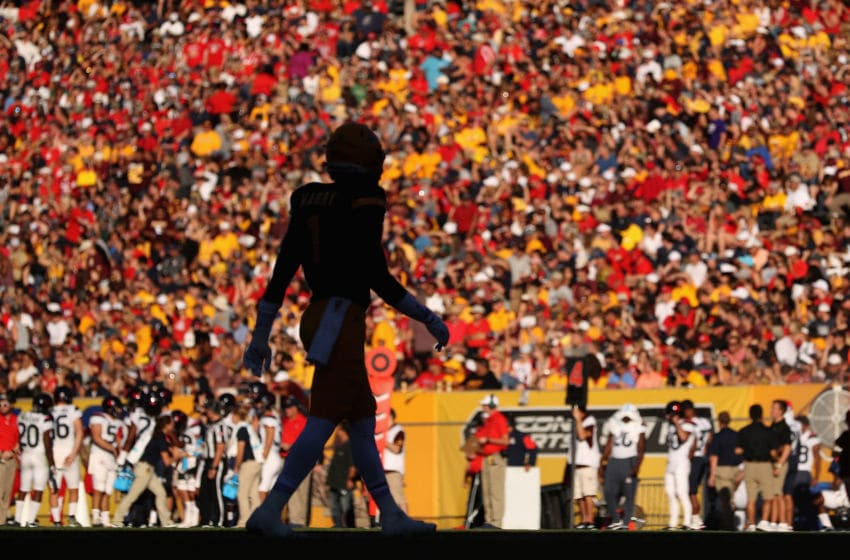 TEMPE, AZ - NOVEMBER 25: Wide receiver N'Keal Harry #1 of the Arizona State Sun Devils walks onto the field during the first half of the college football game against the Arizona Wildcats at Sun Devil Stadium on November 25, 2017 in Tempe, Arizona. The Sun Devils defeated the Wildcats 42-30 (Photo by Christian Petersen/Getty Images)