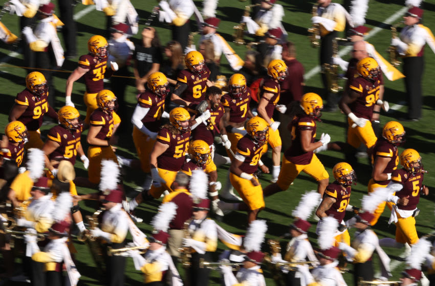 TEMPE, AZ - NOVEMBER 25: The Arizona State Sun Devils run out onto the field before the college football game against the Arizona Wildcats at Sun Devil Stadium on November 25, 2017 in Tempe, Arizona. (Photo by Christian Petersen/Getty Images)