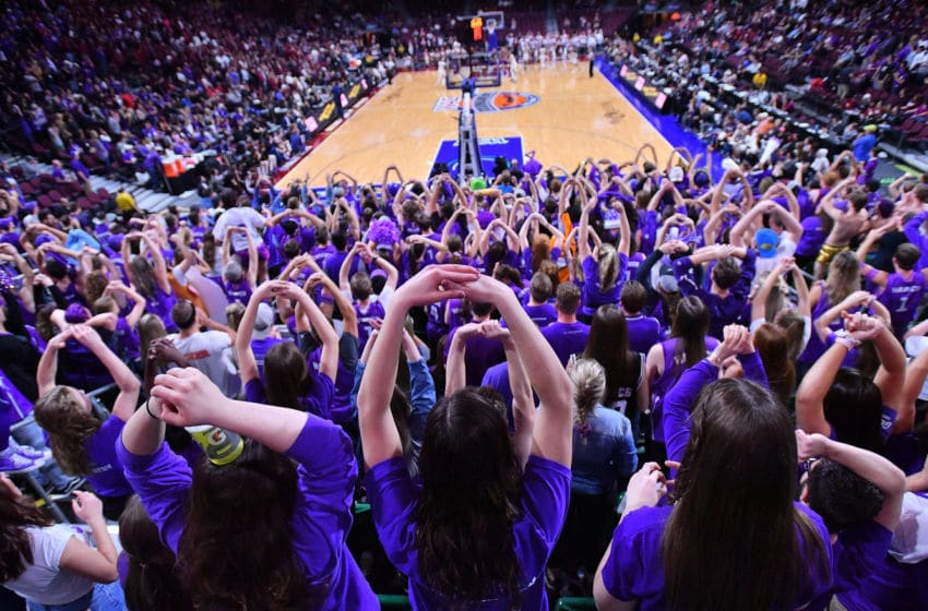 LAS VEGAS, NV - MARCH 10: Grand Canyon Lopes fans cheer during championship game of the Western Athletic Conference basketball tournament against the New Mexico State Aggies at the Orleans Arena on March 10, 2018 in Las Vegas, Nevada. New Mexico State won 72-58. (Photo by Sam Wasson/Getty Images)