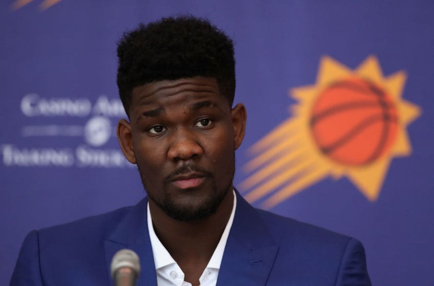 PHOENIX, AZ - JUNE 22: First overall pick, Deandre Ayton of the Phoenix Suns speaks during a press conference at Talking Stick Resort Arena on June 22, 2018 in Phoenix, Arizona. NOTE TO USER: User expressly acknowledges and agrees that, by downloading and or using this photograph, User is consenting to the terms and conditions of the Getty Images License Agreement. (Photo by Christian Petersen/Getty Images)