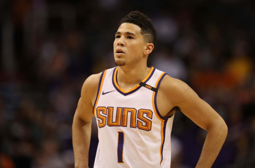 PHOENIX, AZ - OCTOBER 20: Devin Booker #1 of the Phoenix Suns reacts during the NBA game against the Los Angeles Lakers at Talking Stick Resort Arena on October 20, 2017 in Phoenix, Arizona. The Lakers defeated the Suns 132-130. NOTE TO USER: User expressly acknowledges and agrees that, by downloading and or using this photograph, User is consenting to the terms and conditions of the Getty Images License Agreement. (Photo by Christian Petersen/Getty Images)