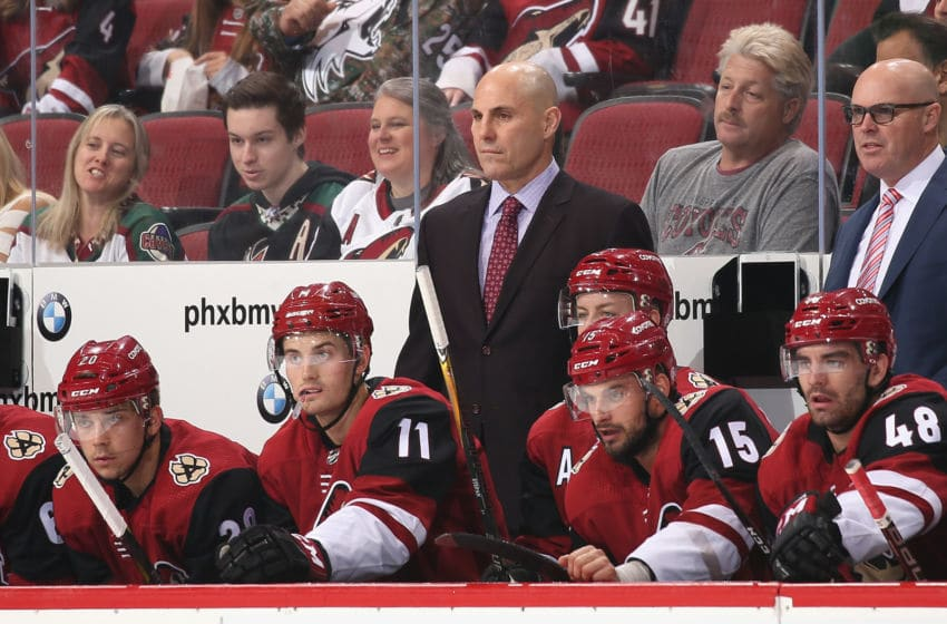 GLENDALE, AZ - OCTOBER 07: Head coach Rick Tocchet of the Arizona Coyotes watches from the bench during the first period of the NHL game against the Vegas Golden Knights at Gila River Arena on October 7, 2017 in Glendale, Arizona.The Kinights defeated the Coyotes 2-1 in overtime. (Photo by Christian Petersen/Getty Images)