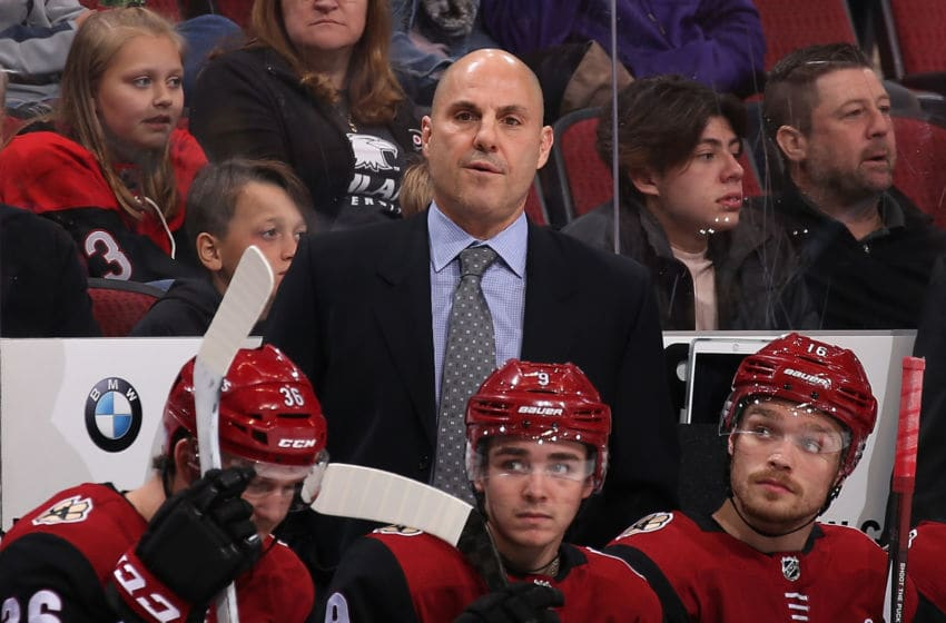 GLENDALE, AZ - NOVEMBER 22: Head coach Rick Tocchet of the Arizona Coyotes watches from the bench during the third period of the NHL game against the San Jose Sharks at Gila River Arena on November 22, 2017 in Glendale, Arizona. The Sharks defeated the Coyotes 3-1. (Photo by Christian Petersen/Getty Images)