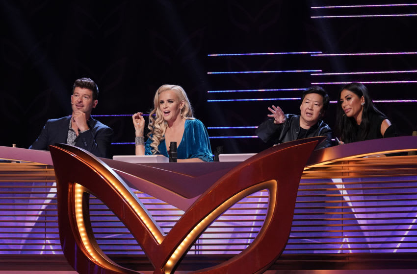 THE MASKED SINGER: L-R: Panelists Robin Thicke, Jenny McCarthy, Ken Jeong and Nicole Scherzinger in the