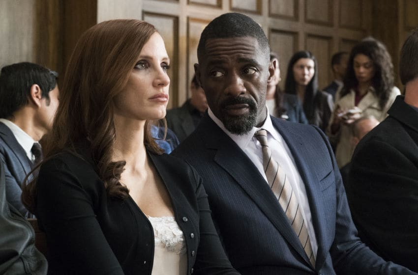 Jessica Chastain and Idris Elba in Molly's Game, Photo via EPK