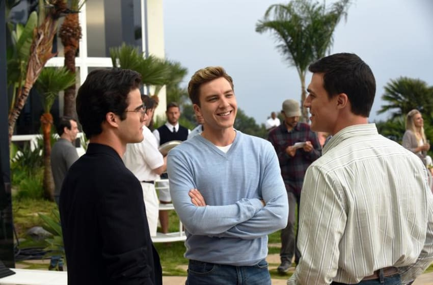 Pictured: (l-r) Darren Criss as Andrew Cunanan, Cody Fern as David Madson, Finn Wittrock as Jeffrey Trail. CR: Ray Mickshaw/FX The Assassination of Gianni Versace: American Crime Story