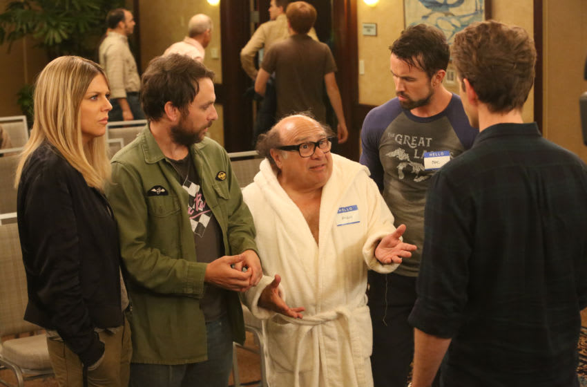 """IT'S ALWAYS SUNNY IN PHILADELPHIA -- """"Time's Up For The Gang"""" – Season 13, Episode 4 (Airs September 26, 10:00 pm e/p) Pictured: (l-r) Kaitlin Olson as Dee, Charlie Day as Charlie, Danny DeVito as Frank, Rob McElhenney as Mac, Glenn Howerton as Dennis. CR: Patrick McElhenney/FXX"""