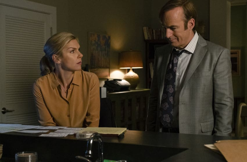 Rhea Seehorn as Kim Wexler, Bob Odenkirk as Jimmy McGill- Better Call Saul _ Season 4, Episode 10 - Photo Credit: Nicole Wilder/AMC/Sony Pictures Television