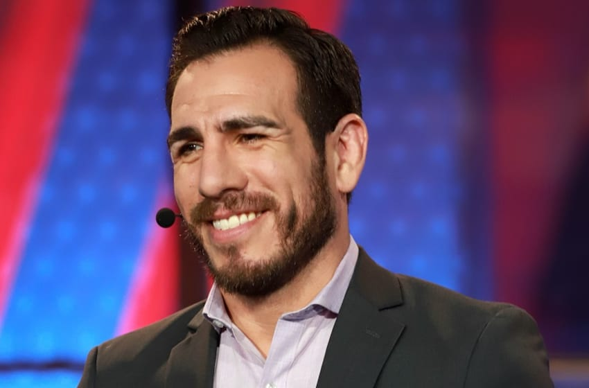 Kenny Florian serves as a commentator on Discovery's BattleBots. Photo Credit: Dan Longmire/Courtesy of Discovery.