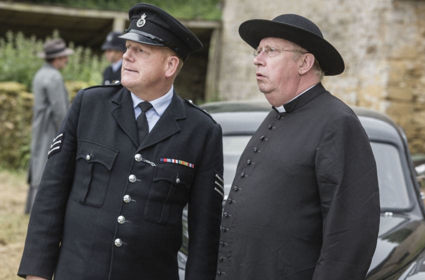 WARNING: Embargoed for publication until 00:00:01 on 08/01/2019 - Programme Name: Father Brown - TX: n/a - Episode: The Blood of the Anarchists (No. 8 - The Blood of the Anarchists) - Picture Shows: **STRICTLY EMBARGOED UNTIL 00:01 HRS ON TUESDAY 8TH JANUARY 2019** Sgt Goodfellow (JOHN BURTON), Father Brown (MARK WILLIAMS) - (C) BBC Studios - Photographer: Gary Moyes