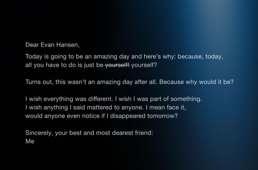 Dear Evan Hansen movie from Universal, image credit Universal