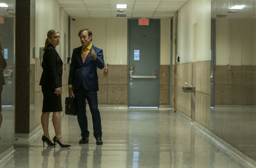Rhea Seehorn as Kim Wexler, Bob Odenkirk as Jimmy McGill - Better Call Saul _ Season 5, Episode 1 - Photo Credit: Warrick Page/AMC/Sony Pictures Television