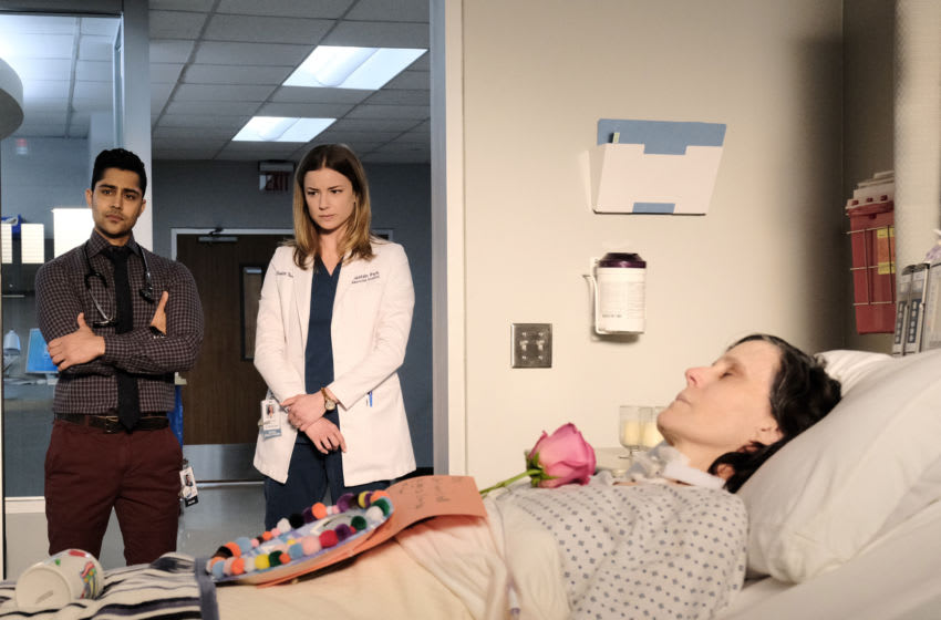 THE RESIDENT: L-R: Manish Dayal, Emily VanCamp and guest star Joanna P. Adler in the