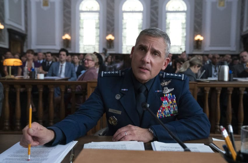 SPACE FORCE (L TO R) STEVE CARELL as GENERAL MARK R. NAIRD in episode 103 of SPACE FORCE Cr. AARON EPSTEIN/NETFLIX © 2020