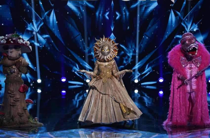 THE MASKED SINGER: L-R: Mushroom, Sun and Crocodile in the special two-hour