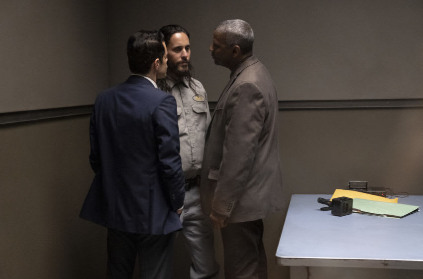 """(L-r) RAMI MALEK as Jim Baxter, JARED LETO as Albert Sparma and DENZEL WASHINGTON as Joe """"Deke"""" Deacon in Warner Bros. Pictures' psychological thriller """"THE LITTLE THINGS,"""" a Warner Bros. Pictures release. Photo Credit: Nicola Goode"""
