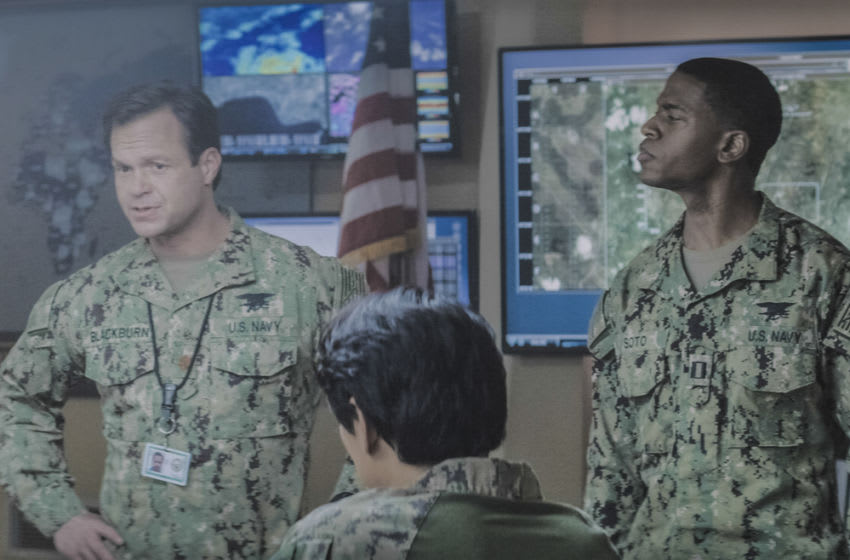 """""""All In"""" – As Bravo continues grappling with major changes, the team spins up on a mission in Ecuador. Also, Natalie presents a life-changing idea to Jason, on SEAL TEAM, Wednesday, Feb. 17 (9:00-10:00 PM, ET/PT) on the CBS Television Network. Pictured L to R: Judd Lormand as Lt. Cdr. Eric Blackburn and Mike Wade as Lt. Wes Soto. Photos: ScreengrabCBS ©2021 CBS Broadcasting, Inc. All Rights Reserved"""