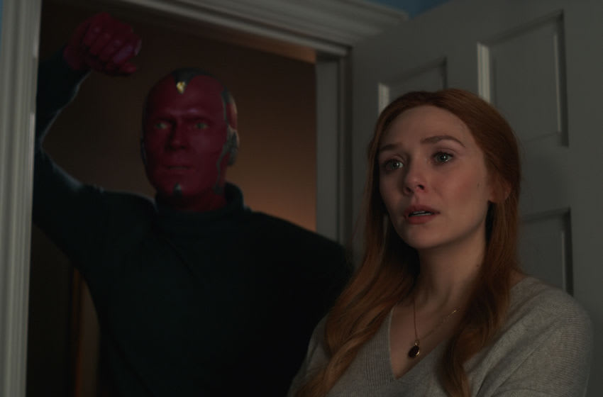 Paul Bettany as Vision and Elizabeth Olsen as Wanda Maximoff in Marvel Studios' WandaVision. Photo courtesy of Marvel Studios. ©Marvel Studios 2021 All Rights Reserved.