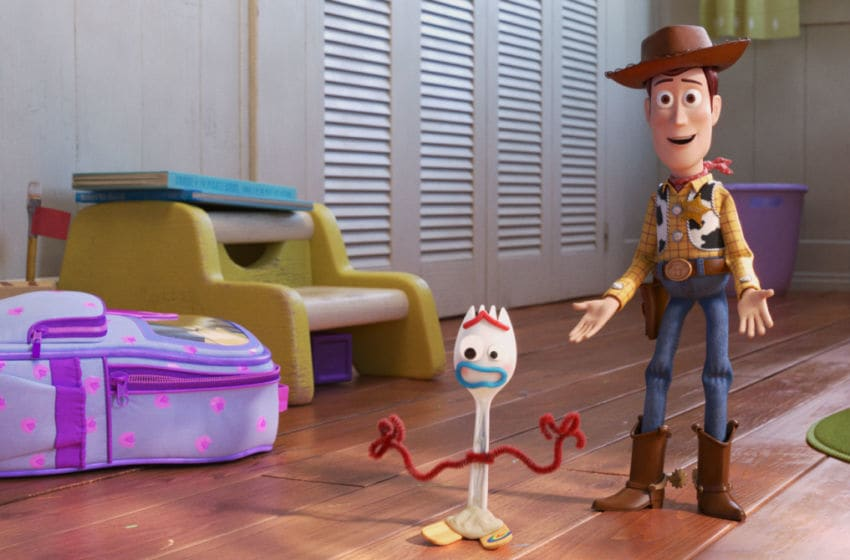 """NEW FRIEND! – In Disney and Pixar's """"Toy Story 4,"""" Bonnie makes a new friend in kindergarten orientation—literally. When Forky—Bonnie's craft-project-turned-toy—declares himself trash and not a toy, Woody takes it upon himself to show Forky why he should embrace being a toy. Featuring the voices of Tony Hale and Tom Hanks as Forky and Woody, """"Toy Story 4"""" opens in U.S. theaters on June 21, 2019. ©2019 Dinsey/Pixar. All Rights Reserved."""