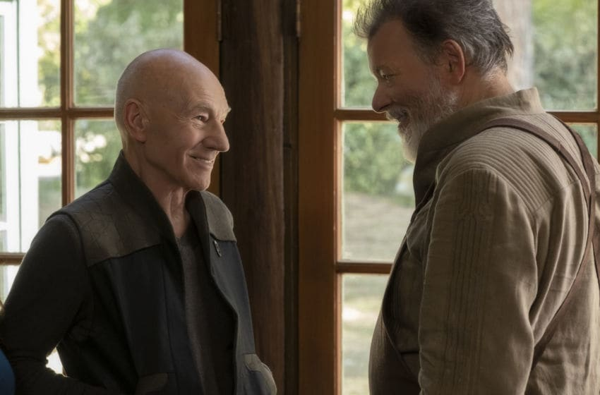 Pictured (l-r): Patrick Stewart as Picard; Jonathan Frakes as Riker of the the CBS All Access series STAR TREK: PICARD. Photo Cr: Trae Patton/CBS ©2019 CBS Interactive, Inc. All Rights Reserved.