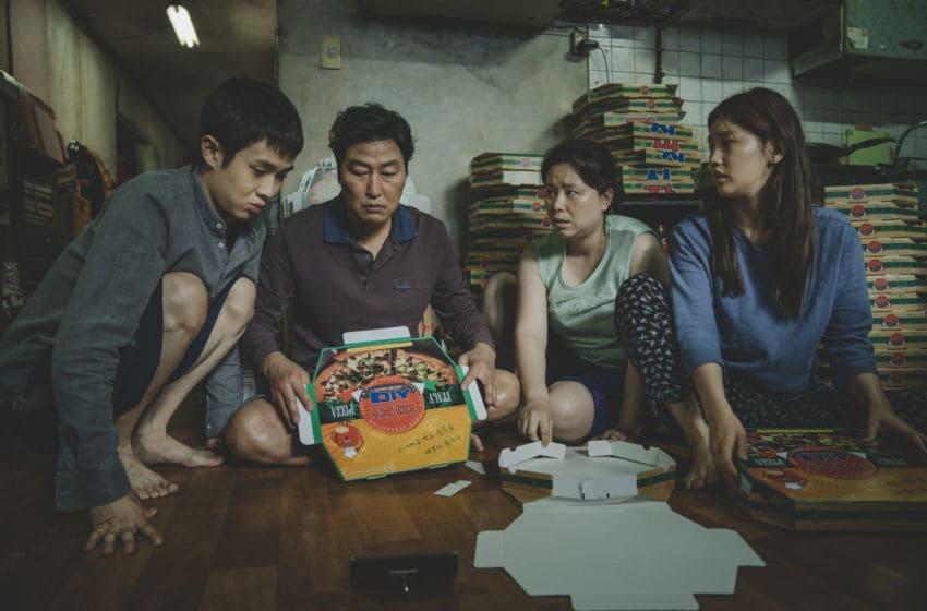 Parasite movie: The Kim Family Woo-sik Choi Kang-ho Song Hye-jin Jang So-dam Park in Parasite. Photo via EPK.tv
