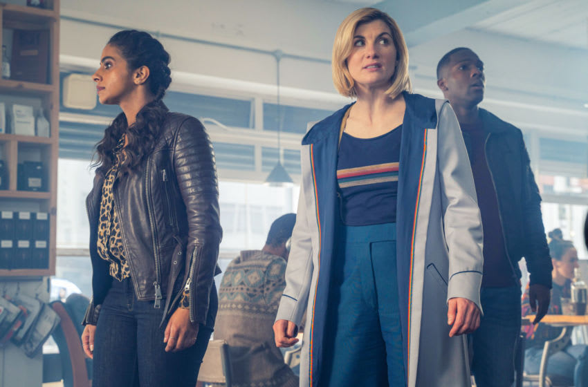 Mandip Gill as Yaz, Jodie Whittaker as The Doctor, Tosin Cole as Ryan - Doctor Who _ Season 12, Episode 5 - Photo Credit: James Pardon/BBC Studios/BBC America