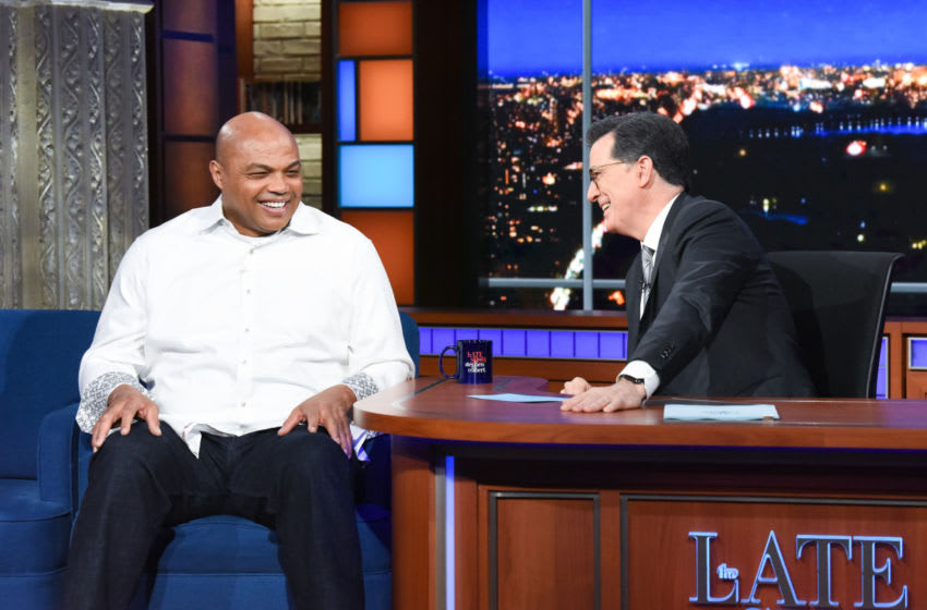 The Late Show with Stephen Colbert and guest Charles Barkley during Tuesday's March 10, 2020 show. Photo: Scott Kowalchyk/CBS ©2020 CBS Broadcasting Inc. All Rights Reserved.