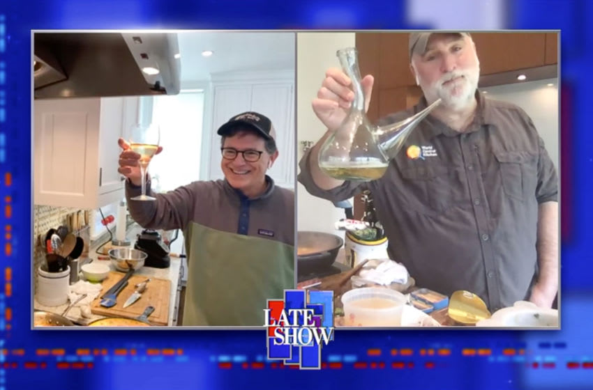 The Late Show with Stephen Colbert and guest Chef José Andrés during Wednesday's April 22, 2020 show. Photo: Best Possible Screen Grab/CBS ©2020 CBS Broadcasting Inc. All Rights Reserved.