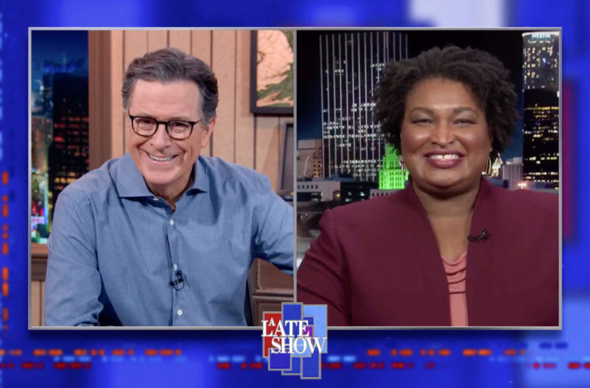 A Late Show with Stephen Colbert and guest Stacey Abrams during MondayÕs November 9, 2020 show. Photo: Best Possible Screen Grab/CBS ©2020 CBS Broadcasting Inc. All Rights Reserved.
