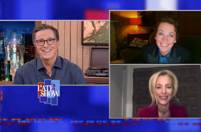 A Late Show with Stephen Colbert and guests Olivia Colman & Gillian Anderson during WednesdayÕs November 11, 2020 show. Photo: Best Possible Screen Grab/CBS ©2020 CBS Broadcasting Inc. All Rights Reserved.