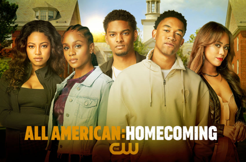 All American: Homecoming -- Image Number: 2021_UPFRONT_ALL_AM_1920x1080.jpg -- Pictured (L-R): Camille Hyde as Thea, Geffri Maya as Simone, Sylvester Powell as JR, Peyton Alex Smith as Damon and Netta Walker as Keisha -- Photo: Gari Askew/The CW -- © 2021 The CW Network, LLC. All Rights Reserved.