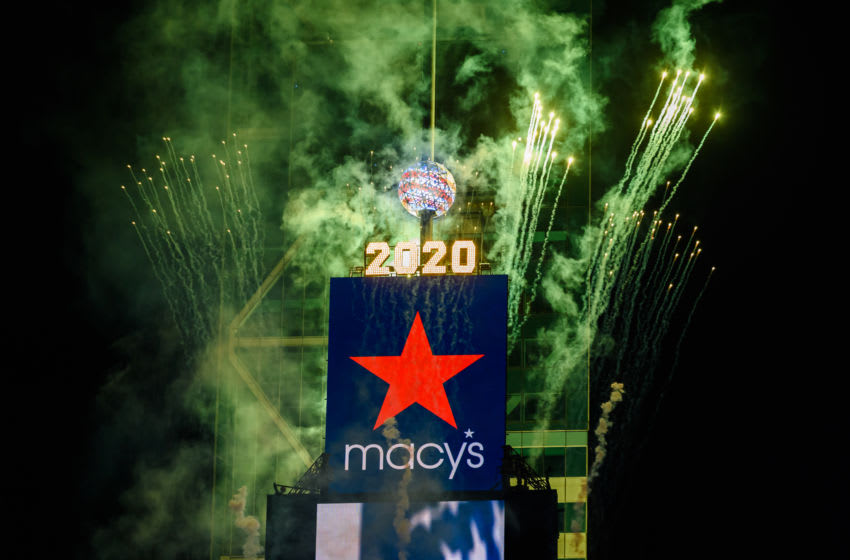 NEW YORK, NEW YORK - JULY 01: Fireworks burst at the One Times Square building in Times Square as part of the 44th annual Macy's 4th of July Fireworks Spectacular show on July 01, 2020 in New York City. Macy's will have five days of fireworks in all Boroughs of New York City leading up to the finale on the fourth of July on Saturday. (Photo by Noam Galai/Getty Images)