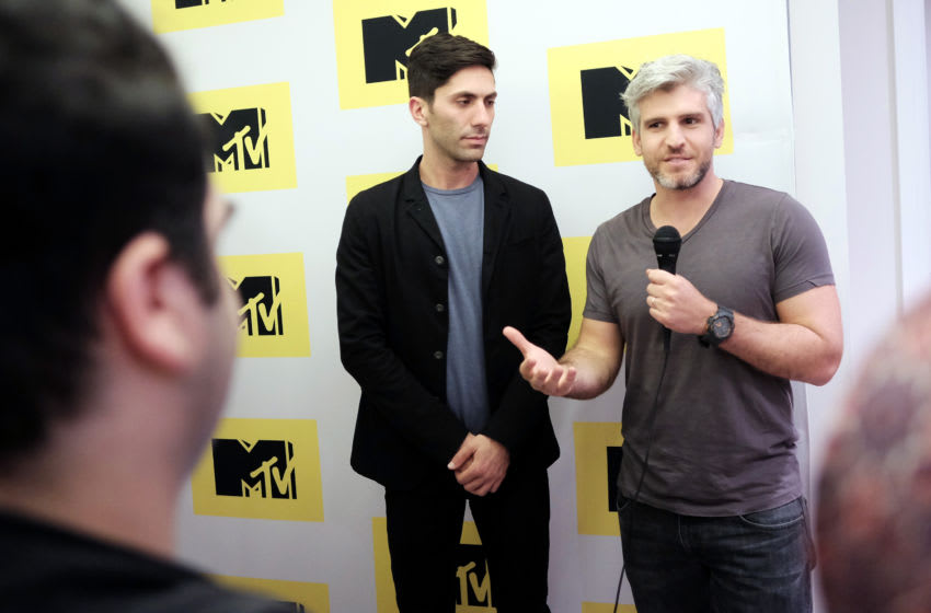 WEST HOLLYWOOD, CA - FEBRUARY 18: Executive Producer/host Nev Schulman (L) and Catfish host Max Joseph attend the MTV Press Junket & Cocktail Party at The London West Hollywood on February 18, 2016 in West Hollywood, California. (Photo by Jason Kempin/Getty Images for MTV)