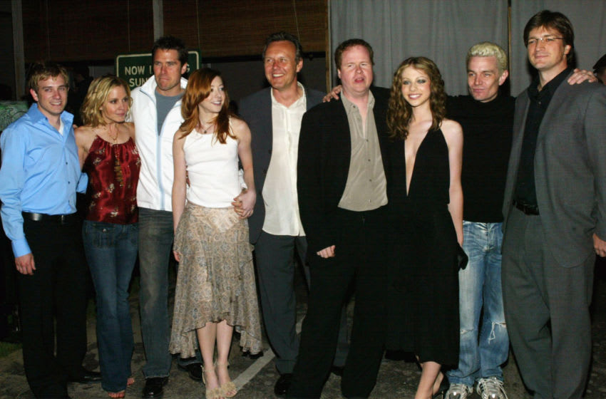 LOS ANGELES - APRIL 18: The cast of the television show 'Buffy the Vampire Slayer' attend the cast party at Miauhaus on April 18, 2003 in Los Angeles, California. (Photo by Frederick M. Brown/Getty Images)